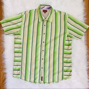 Red Label Hilfiger Green Striped Pearl Snap Shirt